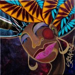 """Queen Sehes by Yemonja Smalls $65 or best offer., 12""""x 12"""", multi-media collage (paint and fabric)."""